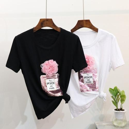2018 Spring Summer t shirt 3D floral sequins Bottle tshirt cotton tops women T shirt