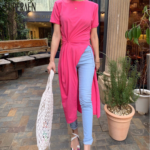 SuperAen Korean Style Women T Shirt Solid Color Cotton Casual Short-sleeved T-shirt Female Summer New 2019 Women Clothing