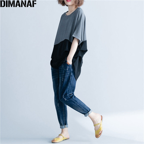 DIMANAF Women T-Shirt Summer Plus Size Chiffon Patchwork Elegant Oversized Irregular Basic Tops Female Casual Loose Tees Shirt