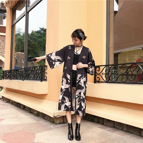 Kimono cardigan Womens tops and blouses Japanese style streetwear female women tops summer 2019 long shirt female black AA3973