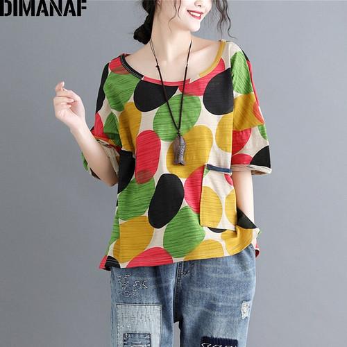 DIMANAF Women Tee Shirt Plus Size Polka Dot Print Cotton Female Lady Basic Tops T-Shirt Casual Summer Clothing Loose tshirt 2018