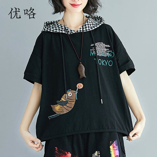 2019 Summer Harajuku Hoody T Shirt Women Plus Size Kawaii Bird Printed Cotton T Shirt Femme Casual Loose Tee Shirts 4XL 5XL 6XL