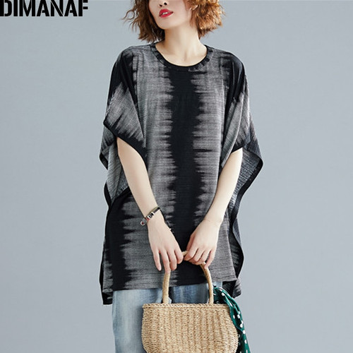 DIMANAF Plus Size Women T-Shirts Cotton Big Size Lady Tops Tee Vintage Print Female Clothes Loose Casual Tunic Shirt 2019 Summer
