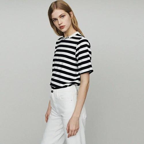 2019 New Women Striped T-shirt Letter Embroidery Short Sleeve Summer T Shirt