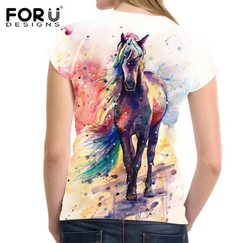 FORUDESIGNS Art Painting Horse Print Women T Shirt Fashion Summer 3D Printed T-shirts Casual Female Tops Tee Shirt Short Tshirts