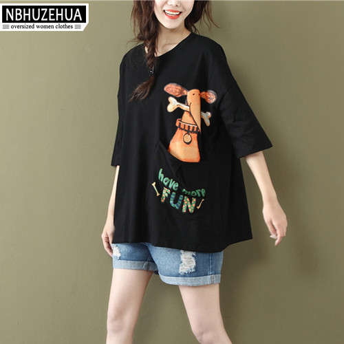NBHUZEHUA A56 Women's Kawaii Funny T Shirts Cartoon Dog Print Women Tops Summer Tshirt Plus Size Woman Clothes 4XL 5XL 6XL
