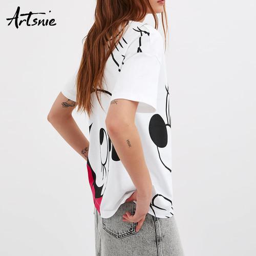 Artsnie streetwear cartoon print white women t shirt summer 2019 o neck short sleeve casual tops female casual tees t-shirt