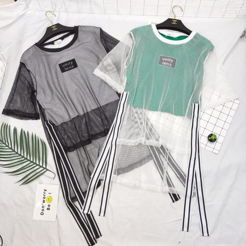 Harajuku New summer ulzzang korean fashion Women's Clothing letter print crop top short patchwork mesh split loose tops t-shirts