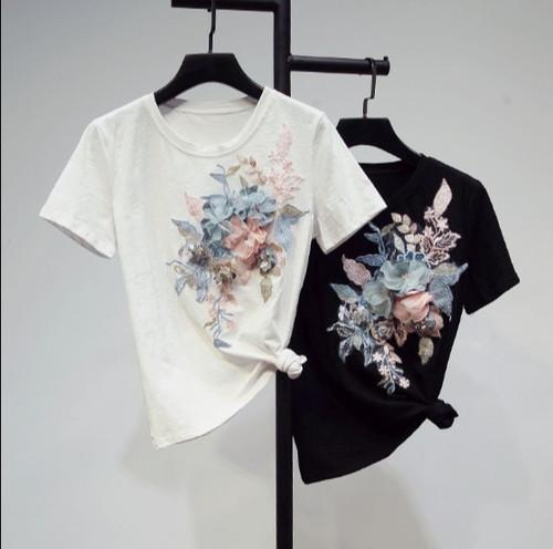 2019 New Summer Women's Flowers Beads Short-sleeved Tshirt All-match Student Girls Cotton Shirt Basic Tops Pullover T Shirts