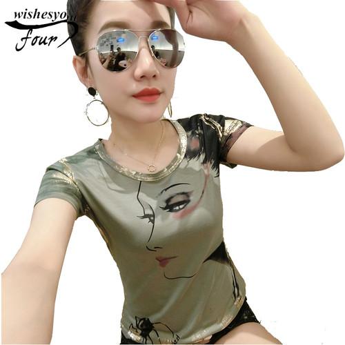 2017 summer new fashion bronzing short-sleeved t-shirt female Slim European all match bottom coat tops 986F 30