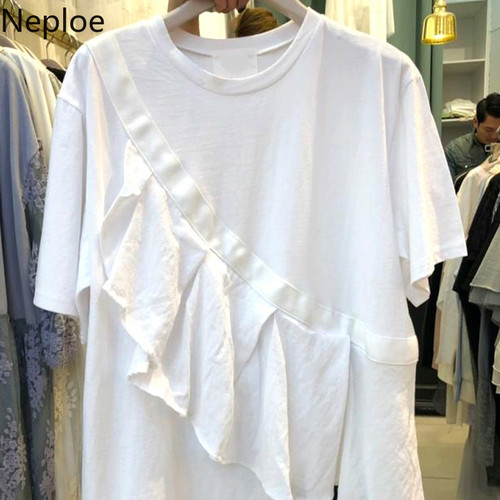 Neploe Ruffles Patchwork Women T Shirts Summer 2019 Fashion O-Neck Short Sleeve Ladies Tees Irregular Loose Cotton Tees 44106