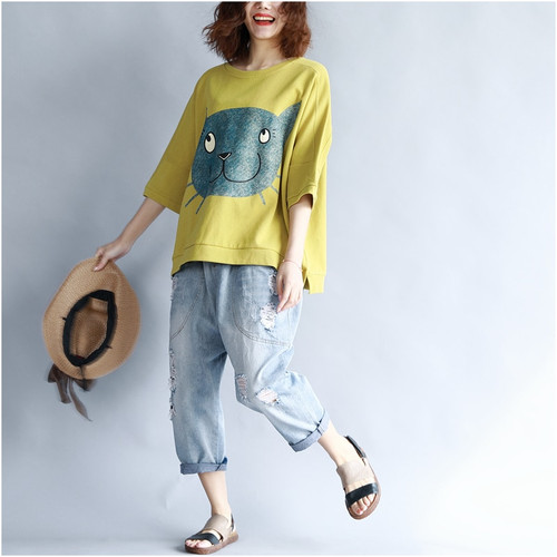 2019 Summer Women Korean Cotton T Shirt Kawaii Cartoon Cat Print Tshirt Women Plus Size Casual Loose Tee Shirt Femme 4XL 5XL 6XL