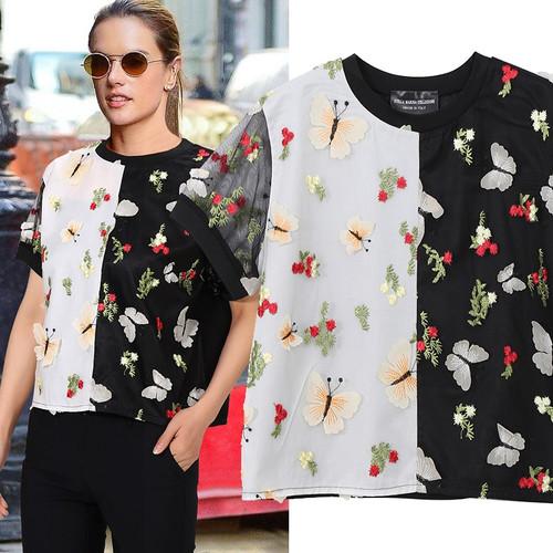 2019 European Fashion Women Summer Contrast Color Tee Top & Sequins Flowers Butterflies Patches Female Unique T-shirt Style 4813