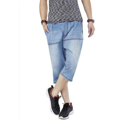 Summer Plus Size Jeans Shorts Men Casual Boardshort Cotton Loose Baggy Beach Shorts 3/4 Hip Hop Harem Denim Short Pants