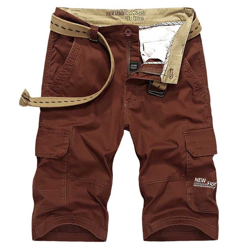 New Fashion Summer Men Casual Boardshort Washed Cotton Beach Shorts Cargo Shorts with Multi Pocket Loose Baggy Shorts Streetwear