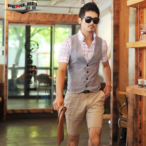 New Brand 2015 Fashion Korean Men's Summer Beach Short Pants Mens Straight Casual Cotton Boardshorts Plus Size Men's Clothing
