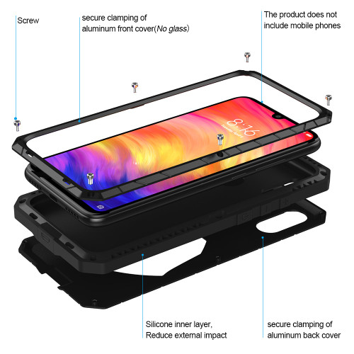 For Xiaomi Mi Redmi Note 7 Phone Case Hard Aluminum Metal Tempered Glass Screen Protector Heavy Duty Cover for Redmi Note 7 Pro