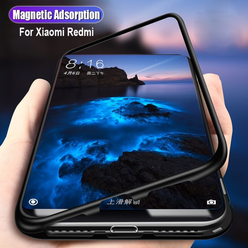 Magnetic Adsorption case for Xiaomi mi 8 lite bumper black tempered glass cover Phone case for Xiaomi redmi note 5 6 7 pro coque