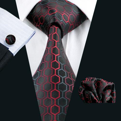 Barry.Wang Men`s Classic Tie 100% Silk Novelty Geometric 30 Styles Tie Hanky Cufflinks Sets For Men`s Wedding Business Party