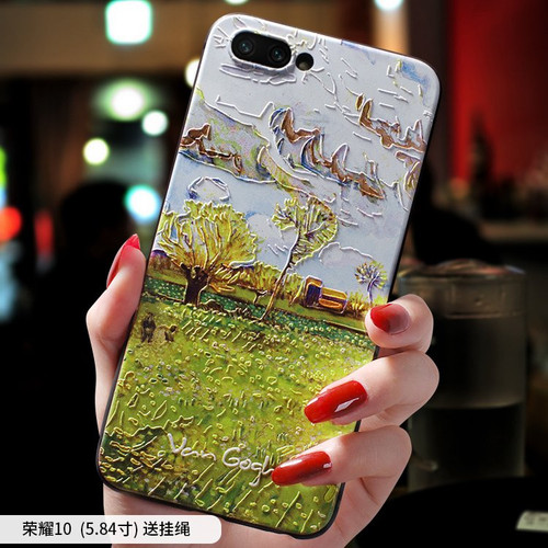 Van Gogh Sunflower Vegetable Field oil painting embossed Relief case For Huawei Honor Note 10 , Honor 10 cover case