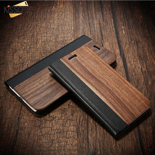 KISSCASE Wood Case For iPhone 8 7 6S Plus Cases Genuine Bamboo Flip Leather Wallet Stand Coque For iPhone 6 6s XS Max X 10 Case