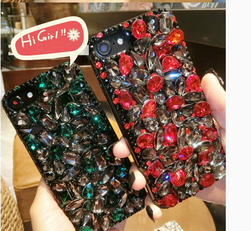 BotexBling Diy gem crystal diamond case for iphone XS MAX cover 6 6s 7 8 plus 7plus emerald ruby S8 Plus for iphone X 8 8plus XR