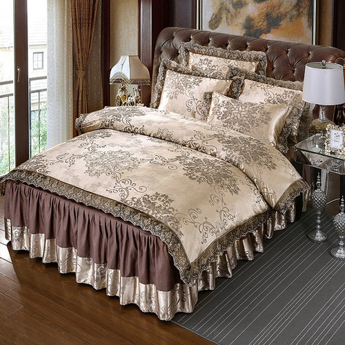 4Pcs Satin Jacquard luxury lace bedding sets queen king size duvet cover set bed skirt set pillowcase bedclothes