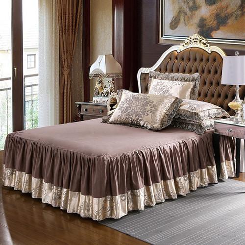 4Pcs Satin Jacquard luxury lace bedding sets queen king size duvet cover set bed skirt set pillowcase bedclothes