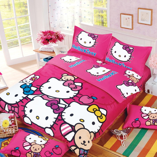 New Cartoon cut Mouse Hello Kitty cat 4/3pc British Duvet Cover Sets Soft Polyester Bed Linen Flat Bed Sheet Set Pillowcase