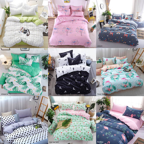 Bedding Sets Geometric Pattern Bed Sheet Children Student Dormitory Bed Linings Cartoon 3/4pcs Pillowcases Cover Set