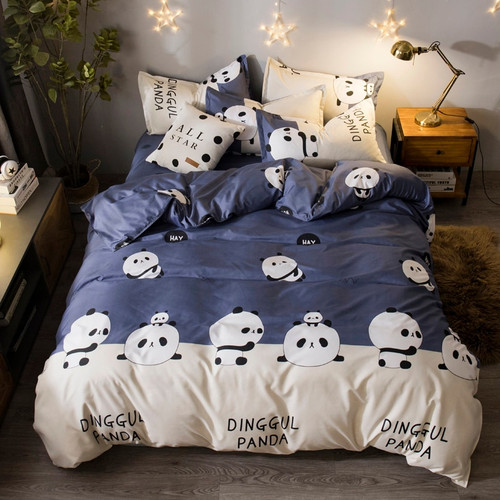 Black And White Panda Pattern Bedding Bed Linen Bed Sheet Flat Sheet Set Duvet Cover Pillowcase 4Pcs Bedding Sets/Queen Size