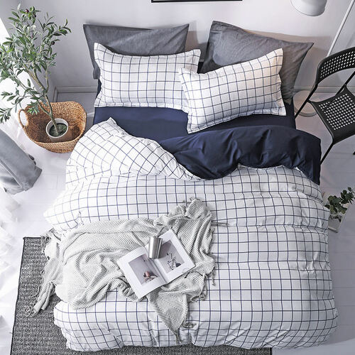 Plaid 4pcs Girl Boy Kid Bed Cover Set Duvet Cover Adult Child Bed Sheets And Pillowcases Comforter Bedding Set 2TJ-61015