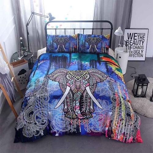 Home Textile 3D Mandala Elephant bedding set Single Double Queen Size Boho Bed Linen Duvet Cover Bed Sheet Pillowcase/bed Sets