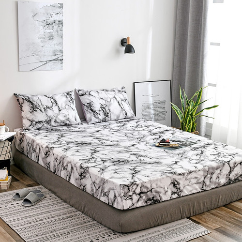 Classic Black and White Marble Pattern Bedspread Fitted Sheet for Beds Elastic Home Textile Twin/Full/Queen/King Bed Cover Set