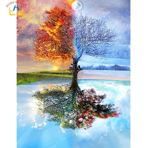 Season tree painting by numbers diy acrylic coloring drawing Modular canvas pictures for living room artwork paint by number