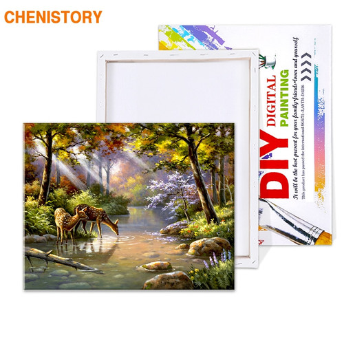 CHENISTORY Picture Forest DIY Painting By Numbers Acrylic Paint By Numbers Unique Gift Canvas Painting For Home Decor Wall Arts