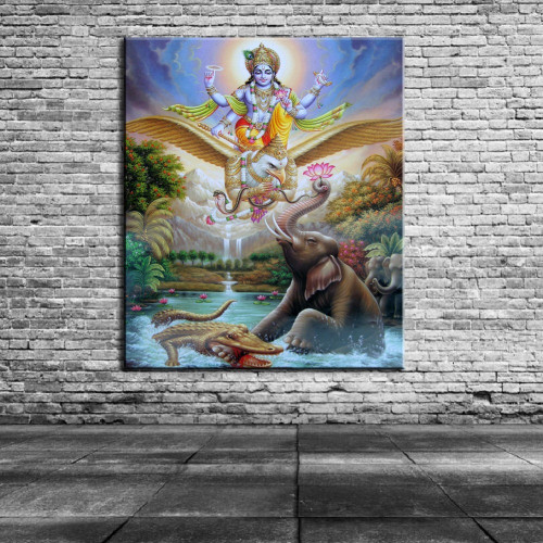 Ancient Indian holy temple worship gods Hindu deities painting Home decor simulation oil painting on the canvas print 2019042009