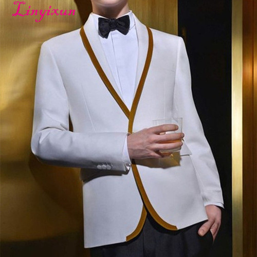 Linyixun Latest Coat Pant Designs White Gold Trim Tuxedo jacket Prom Men Suit Slim Fit Custom 2 Piece Suits Groom Blazers Terno