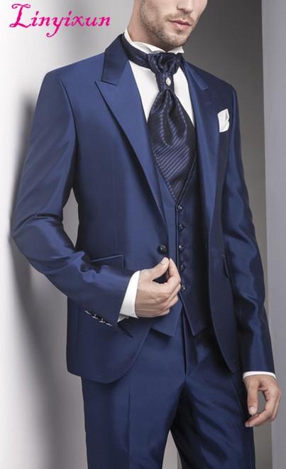 Linyixun New Arrival 3 Pieces Dark Blue Wedding Bridegroom Suits Groomsman Men's Suits Groom Tuxedos Handmade