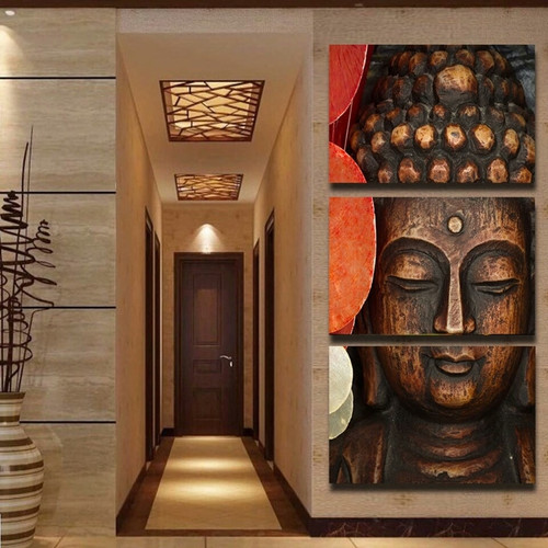 Painting For Living Room Home Decor 3 Panel Buddha Printed Cuadros Modular Pictures Poster Framework High Quality Canvas