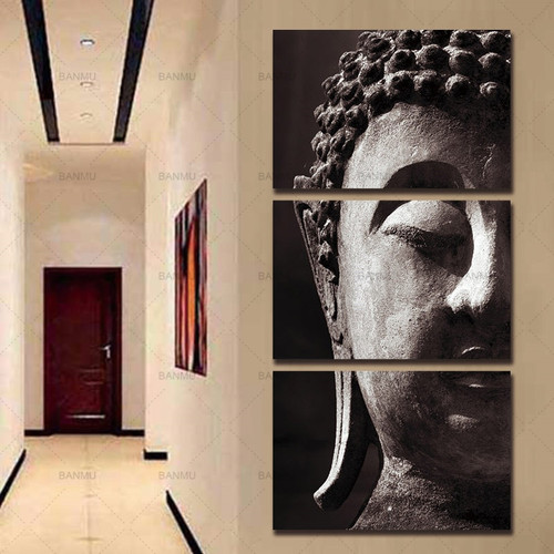 canvas painting wall Art Picture Canvas print poster 3 Panel Wall Art Religion Buddha Room Panels For Home Modern Decoration