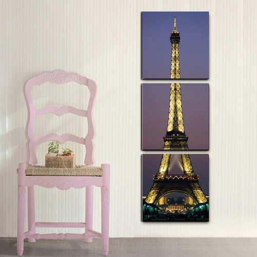 3 Panel Unframed Paris Eiffel Tower Canvas Oil Painting by Numbers Printed Wall Hanging Picture for Living Room Modern Painting