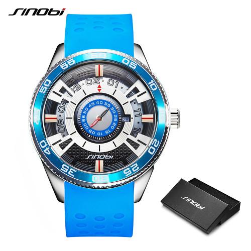 2019 SINOBI Car Dashboard Speed New Creative Watch Men Luxury Brand Silicone Band 100% Stainless Steel Men Wristwatches