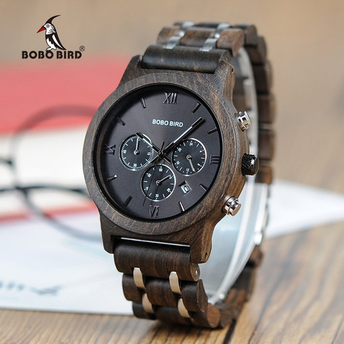 BOBO BIRD Wood Watches Men Business Luxury Stop Watch Color Optional with Wood Stainless Steel Band V-P19