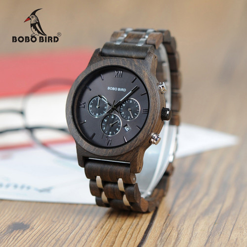 BOBO BIRD Wooden Watch Men relogio masculino Wood Metal Strap Chronograph Date Quartz Watches Luxury Versatile Timepieces WP19