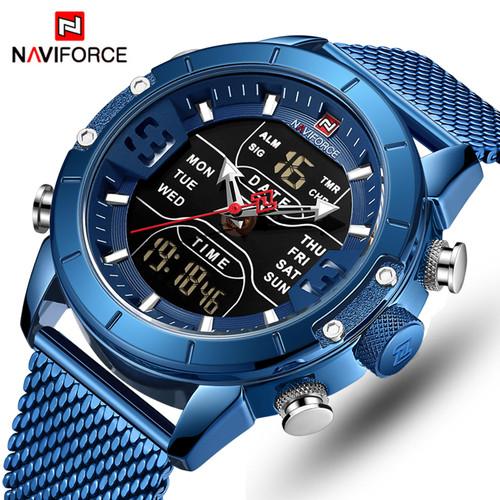 NAVIFORCE Mens Watches Top Luxury Brand Men Sports Watches Men's Quartz LED Digital Clock Male Full Steel Military Wrist Watch