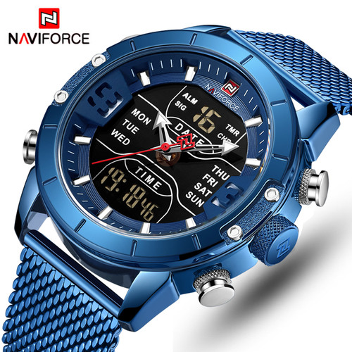 NAVIFORCE Mens Watches Top Luxury Brand Men Sports Watches Men's Quartz LED Digital Clock Male Full Steel Military Wrist Watch