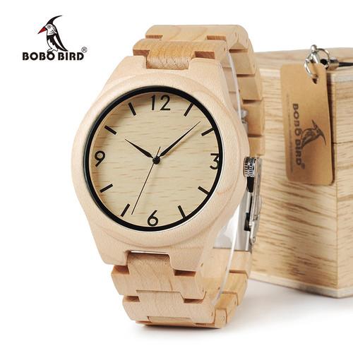 BOBO BIRD WH01 Pine Wooden Quartz Watch Season Gift Design for Anniversary Edition Series of Wooden Watches Maple OEM