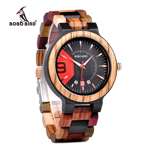 BOBO BIRD New Military Design Unique Dail Auto Date Colorful Wood Band Wristwatch Father's Day Gift