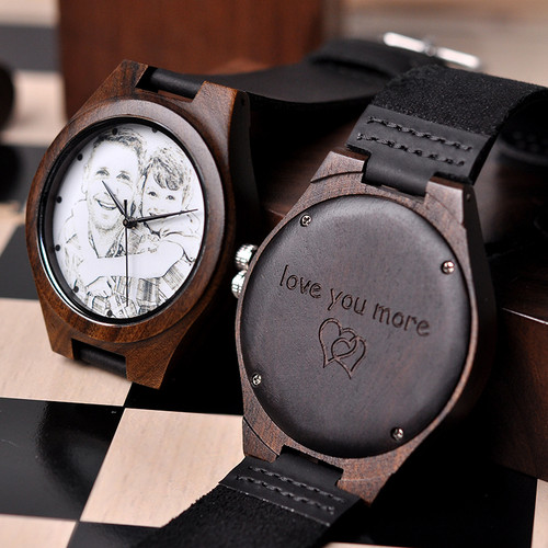 BOBO BIRD Personalized Men Watch Wooden Timepieces Special Family Present Customers Photos Free Printing Engraving Drop Shipping